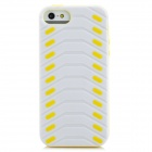 Protective Creative Tire Pattern Back Case for iPhone 5 - White + Yellow