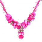 Shell + Crystal Necklace - Deep Pink