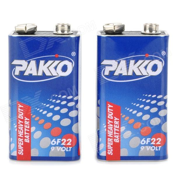 PAKKO 250mAh 9V 6F22 Battery - Blue + White + Red (2 PCS) e cap aluminum 16v 22 2200uf electrolytic capacitors pack for diy project white 9 x 10 pcs