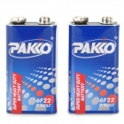 PAKKO 250mAh 9V 6F22 Battery - Blue + White + Red (2 PCS)