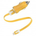 USB 8Pin Lightning Data & Ladekabel + KFZ-Ladegerät für iPhone 5 / iPad Mini - Yellow + White