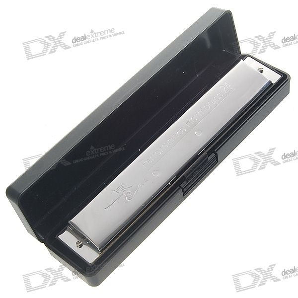Swan Stainless Steel 24-hole Harmonica with Protective Carrying Box