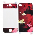 22010123 Moonlight Pattern Front & Back Screen Protectors for Iphone 4 - Transparent + Deep Red
