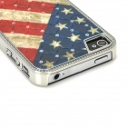 Flag of United States Pattern PC + Rhinestone Back Case for Iphone 4 / 4S - Dark Blue + Red