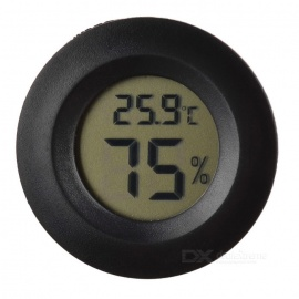 """Cigar Box Shape 1.0"""" LCD Electric Thermometer Humidity Meter - Black"""