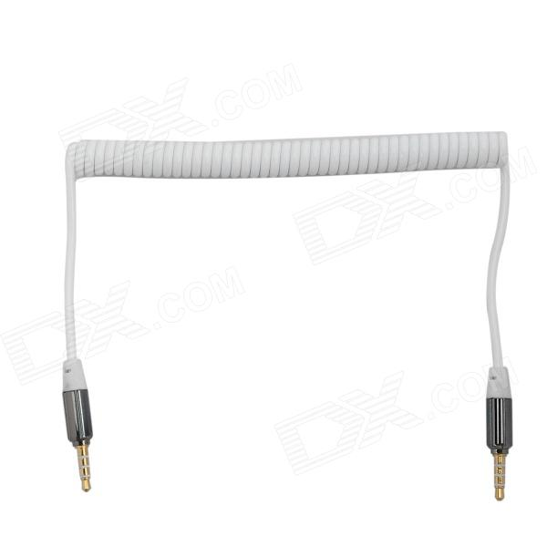 3.5mm Male to Male Spring Coil Audio Cable - White (Max. 120cm)