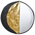 Folding Round Shaped Dual Side Flash Reflector Board - Golden + Silver (110cm Diameter)