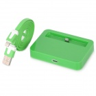 USB Charging Dock Station w/ Charging Cable for iPhone 5 - Green (100CM)