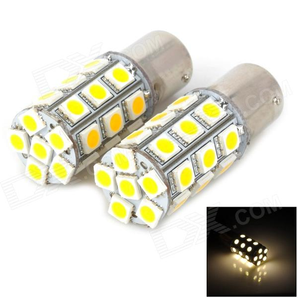 115650-27WN 1156 5W 300lm 4500K 27-5050 SMD LED Warm White Light Car Turn Signals Lamp (2 PCS) 115650 18r 1156 3 5w 200lm red light 18 smd 5050 led car turn signal tail lamp dc 12v 2 pcs