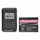 3.7V / 4000mAh Rechargeable Battery + Battery Charger w/ USB Port for Samsung i9220 - Black
