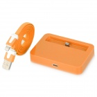 USB Charging Dock Station w/ Charging Cable for Apple iPhone - Orange (100CM)