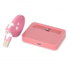 USB Charging Dock Station w/ Charging Cable for iPhone 5 - Pink (100CM)
