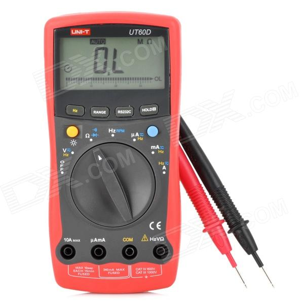 UNI-T UT60D 2.7 LCD Digital Multimeter - Red + Deep Grey (1 x 9V 6F22) pro skit mt 1210 2 0 lcd digital multimeter blue deep grey 1 x 9v battery