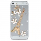 Protective 3D Eiffel Tower Crystal Pearl Back Case for Iphone 5 - Transparent + Golden + White