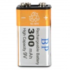 "Rechargeable 6HR61 9V ""300mAh"" Ni-MH Battery - Silver + Black"