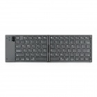 Folding Rechargeable 80-Key Bluetooth 3.0 Keyboard for Iphone + Ipad + More - Black