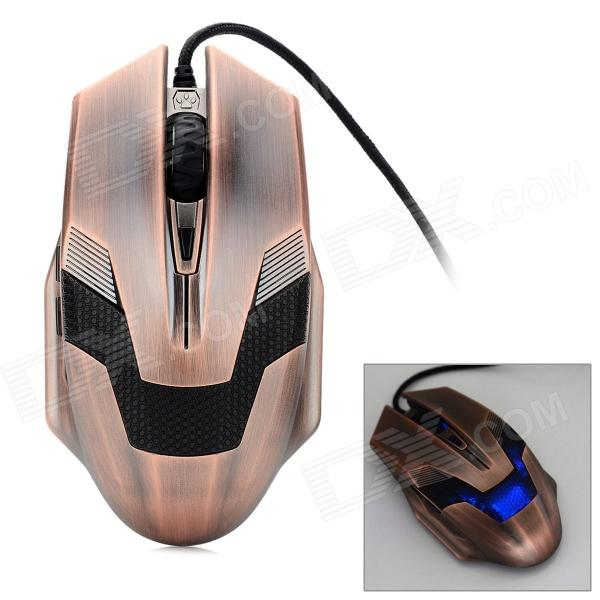 AJ010 USB 2.0 Wired Optical 2000dpi Gaming Mouse - Copper + Black