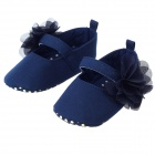 Cute Baby Girls Anti-Slip Comfortable Cotton Flower Princess Shoes - Deep Blue + Yellow (Pair)