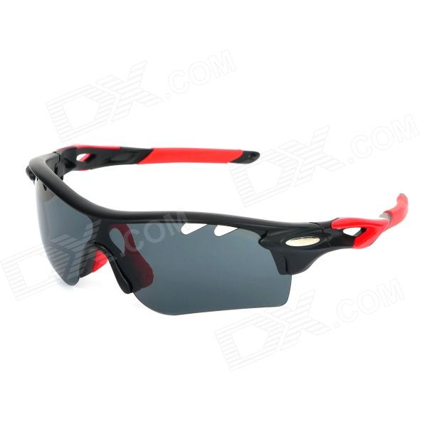 OREKA WG565 Cycling Sport UV400 Protection Polarized Goggles - Black + Red carshiro 9150 uv400 protection resin lens polarized night vision driving glasses