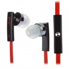 BYZ-S500 In-Ear Stereo Earphone w/ Microphone - Black + Red (130CM-Length)