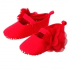 Cute Baby Girls Anti-Slip Comfortable Cotton Flower Princess Shoes - Red + Yellow (Pair)