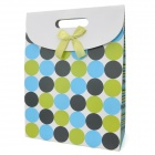 Big Dot Pattern Reusable Matt Laminated Paper Gift Hand Bag - Green + Blue + Black + White