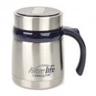 YongQuan YQO12-007 Double Stainless Steel Vacuum Bottle Thermos w/ Handle - Silver + Deep Blue