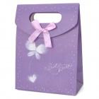 Small Butterfly Pattern Reusable Matt Laminated Paper Gift Hand Bag - Purple + White