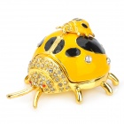 YLS755 Cute Beetle Shape Copper Aluminum Alloy + Spot Drill Jewelry Trinket Ring Box Case - Yellow