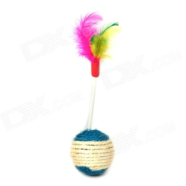 00 Natural Sisal Feather Ball Shape Knit Toy for Pet Cats - Multicolored