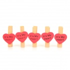 Heart Shape Paper Photo Note Clips - Red + Wood (5PCS)
