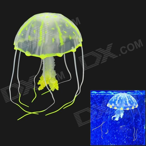 01 Aquarium Lifelike Glowing Effect Jellyfish w/ Suction Cup - Fluorescent Yellow + Translucent