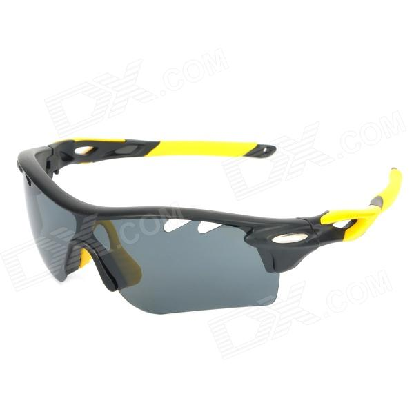 OREKA WG565 Sport Cycling UV400 Protection Polarized Goggles Sunglasses - Black + Yellow carshiro 9150 uv400 protection resin lens polarized night vision driving glasses
