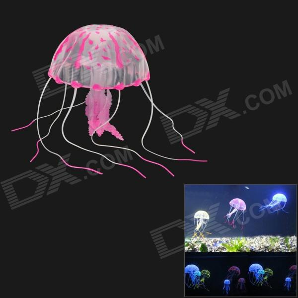 03 Aquarium Lifelike Glowing Effect Jellyfish w/ Suction Cup - Deep Pink + Translucent
