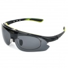 Panlees SP015 Outdoor Sport Cycling UV400 Protection Goggles w/ Replacement Lenses - Black + Yellow