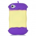 Style Protective Silicone Back Case w/ Cable Winder for Iphone 4 / 4S - Purple + Light Yellow