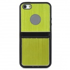 Protective Plastic + Aluminum Alloy Back Case w/ Dual Stands for Iphone 5 - Black + Yellow Green