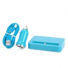 Power Socket + Apple 8Pin Lightning Cable + Car Cigarette Charger for iPhone 5 / iPad 4 - Blue