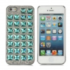 Elegant Diamond 3D Crystal Protective Plastic Hard Back Case for Iphone 5 - Aquamarine + Silver