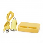 Socket + 8Pin Lightning Data & Charging Cable + Car Cigarette Charger for iPhone 5 / iPad 4 - Yellow
