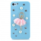 3D Ballet Girl Design Protective Plastic Back Case for Iphone 4 / 4S - Blue + Pink