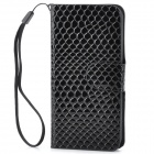 Snake Pattern Protective PU Leather Flip-Open Case w/ Strap for Iphone 5 - Black