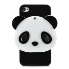 Creative 3D Panda Mirror Design Protective Plastic Back Case for Iphone 4 / 4S - Black + White