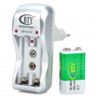 BTY BTY-812B Ni-MH 9V 300mAh Battery + AA / AAA / 9V Battery Charger Set - Silver (EU Plug)