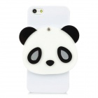 Cute 3D Panda Mirror Style Protective Plastic Hard Back Case for iPhone 5 - White + Black