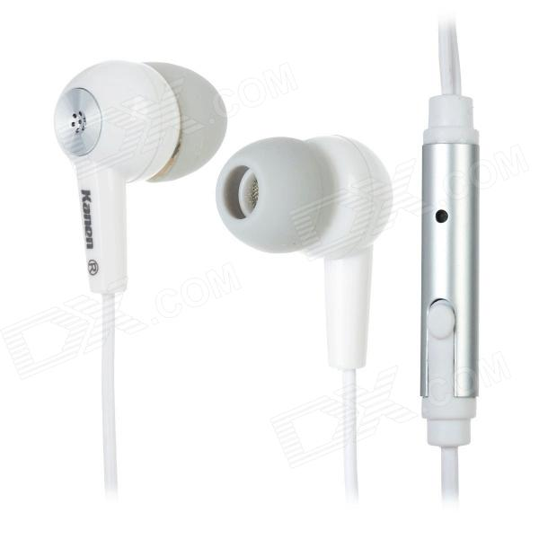 Kanen IP102 In-Ear Earphones w/ Microphone / Clip for Iphone / Ipod + More - White (3.5mm Plug) unt 28 retractable in ear earphones for iphone cellphone more white 3 5mm plug 120cm cable