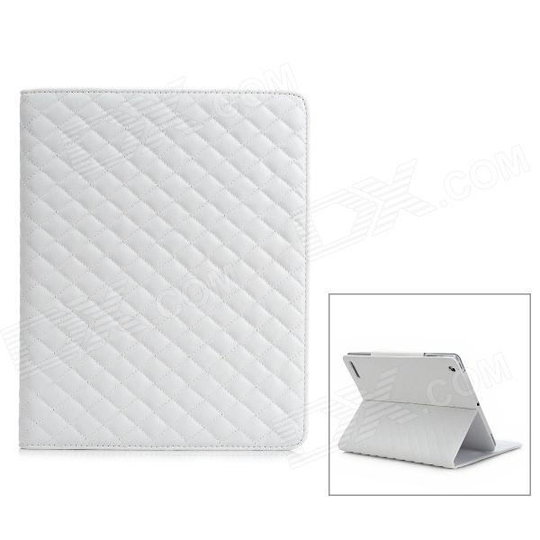 Diamond Shape Protective PU Leather Flip-Open Case for The New Ipad / Ipad 2 / Ipad 1 - White