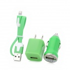 Car Cigarette Lighter Charger + 2-Flat-Pin Plug + USB to 8Pin Data Cable for iPhone 5 - Green