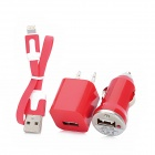Car Cigarette Lighter Charger + 2-Flat-Pin Plug + Data Cable for iPhone 5 / iPad 4 - Red + White