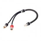 BaiShi 02B 1-RCA Female to 2-RCA Male Extension Audio Cable - Black + Red (32cm)